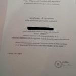 Certificato d'iscrizione all'Albo