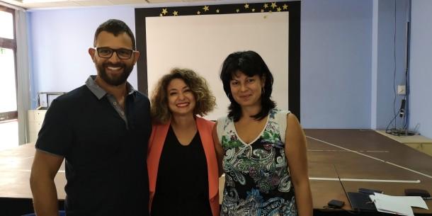Il Dirignte con i due collaboratori: ins. Silvana Iuliano e prof. Moreno Pasqualone